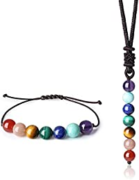 8mm 2 Pack Reiki Healing 7 Chakra Stones Womens Bracelet and Necklace Set