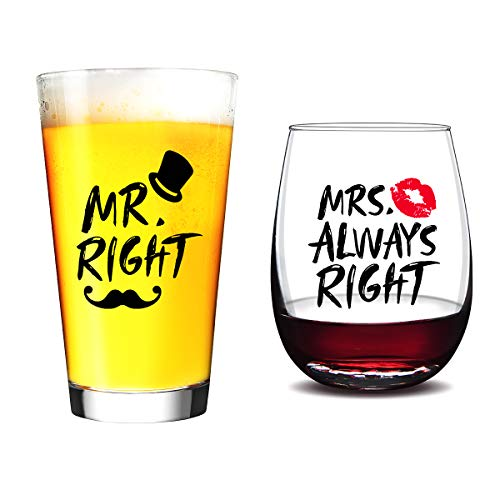 Funny Wedding Gifts Wine Glass- Mr. Right and Mrs. Always Right - Engagement Gifts - Couples Glasses Present Idea for Bridal Shower and Couples Wedding Anniversary