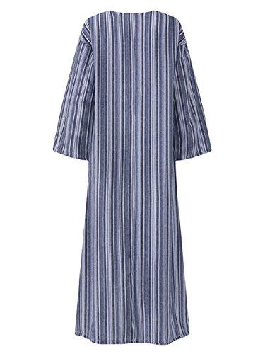 Casual Pockets V Neck 3 4 with Kaftan Women Celmia Loose Dress Grey Split Striped Dresses Sleeve Long Kangaroo EYgqHa