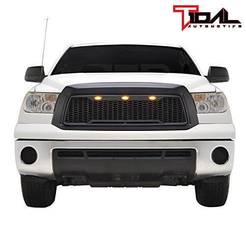 Tidal Replacement Upper Grille Front Grill with Amber LED Lights for 10-13 Toyota Tundra - Matte Black