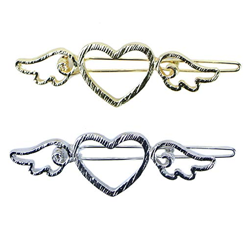 Monrocco 4Pcs Vintage Hollow Heart Angel Wing Women Hairpin Love with Wings Hairpins (Gold and Silver)