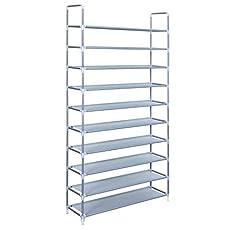 Songmics 10 Tiers Shoe Rack 50 Pairs Non-woven Fabric Shoe Tower Storage Organizer Cabinet ULSR10G