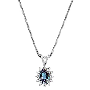 June Birthstone Pendant Necklace Simulated Alexandrite in 14K Yellow Gold or 14K White Gold