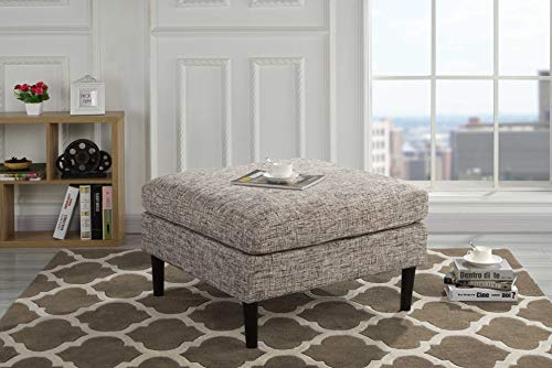 Casa Andrea Milano Modern Living Room Accent Linen Fabric Ottoman (Ash Brown)