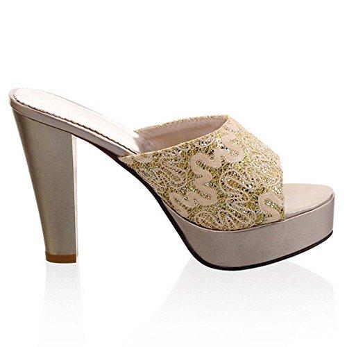 Femmes Bloc Sandales gold Coolcept Hauts Mules Talons OC4wnwdxq