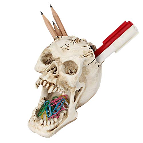 Foryo White Skull Pen Holder Office Desktop Ossuary Skulls Decor Halloween Decorations Skeleton Head Stationery Holder (White Skull) -