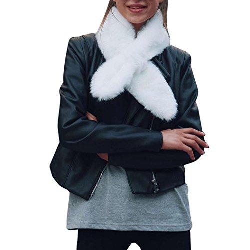 Fullfun Women Winter Collar Warm Soft Neckerchief Short Scarf Wrap (39 X 6 inches, white)