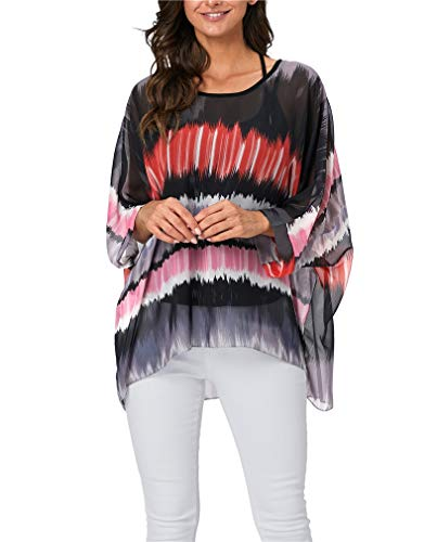 Vanbuy Womens Summer Printed Batwing Sleeve Top Chiffon Poncho Flowy Loose Sheer Blouse Shirt Tunic Z336-43-4338 ()