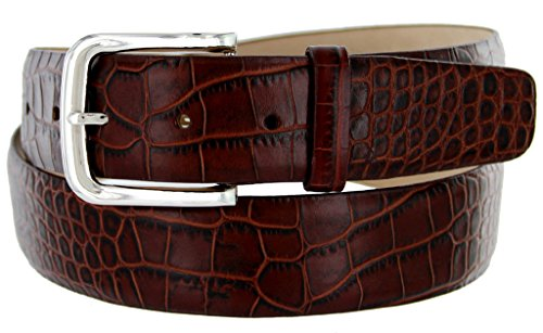 [Valley View Men's Designer Leather Dress Belt (Alligator Brown, 36)] (Brown Crocodile Belt)