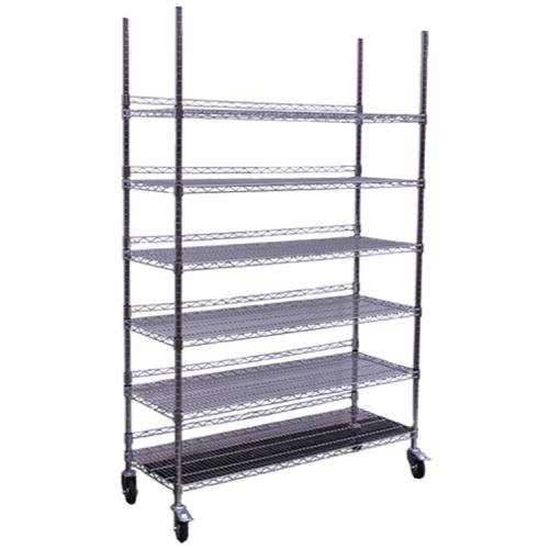 Commercial Grade Caster (Hydro Flow Commercial Grade Chrome Storage Rack - 6 Shelves w/ Backstop & Casters)