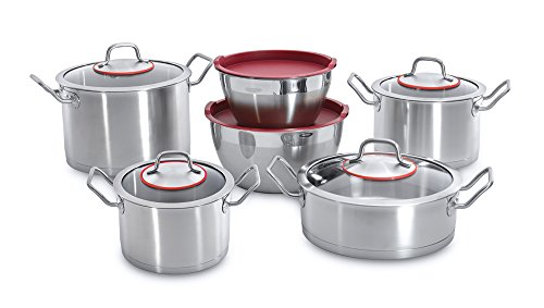 Berghoff 6-Piece Induction-Friendly Satin Stainless Steel Cookware Set with Glass Lids, Silver, 58.2 x 28.5 x 27 cm ()