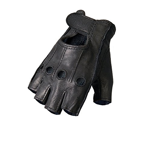 Hot Leathers Deerskin Fingerless Gloves (Black, XX-Large)