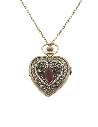 (Sarah Coventry Women's Heart Shaped Victorian Watch Locket Necklace, 30