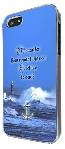 439 - Anchor No Matter How rough The Sea i refuse to sink Design iphone 5 5S Coque Fashion Trend Case Coque Protection Cover plastique et métal
