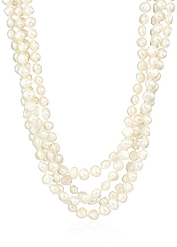 Necklace Pearl Freshwater Multi (6-7mm White Baroque Freshwater Cultured Pearl Endless Necklace, 100