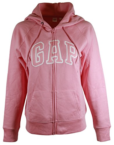 GAP Womens Fleece Arch Logo Full Zip Hoodie (XL, Baby Pink) ()