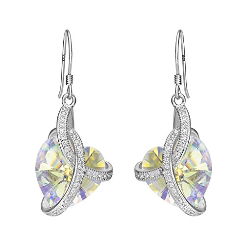 EleQueen 925 Sterling Silver CZCourageous Heart Inspired Hook Drop Earrings Made with Swarovski Crystals