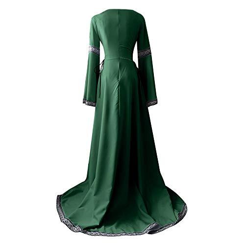 Polpqed O Abito Pasqua collo Medievale Dress Maniche VestitoCostume Retro Donna Cosplay Etnica Lungo Puro Verde Colore Carnevale Partito Sottile Campana lJcT1FK