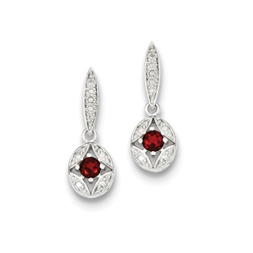 Red Garnet Diamond Post Stud Drop Dangle Chandelier Earrings Fine Jewelry For Women Gift Set ()