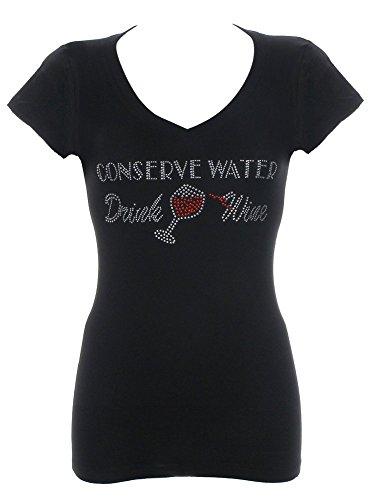 Women's Conserve Water Drink Wine Rhinestone Bling V-Neck T-Shirt 1X (Fitted Rhinestone Tee)