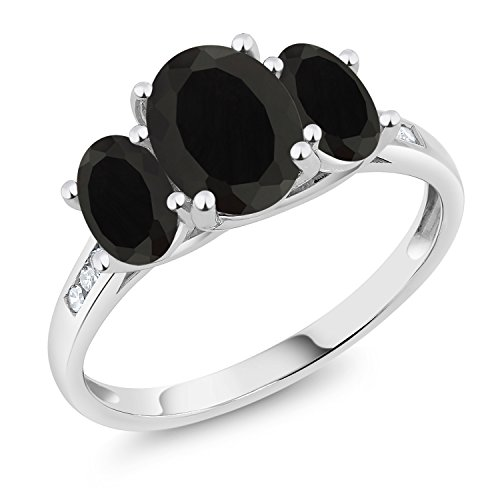 Gem Stone King 10K White Gold Diamond Accent Oval Black Onyx 3-Stone Ring 2.03 Ct (Size 5) ()