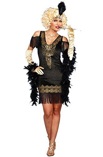 Dreamgirl Women's Swanky Flapper, Black/Gold L -
