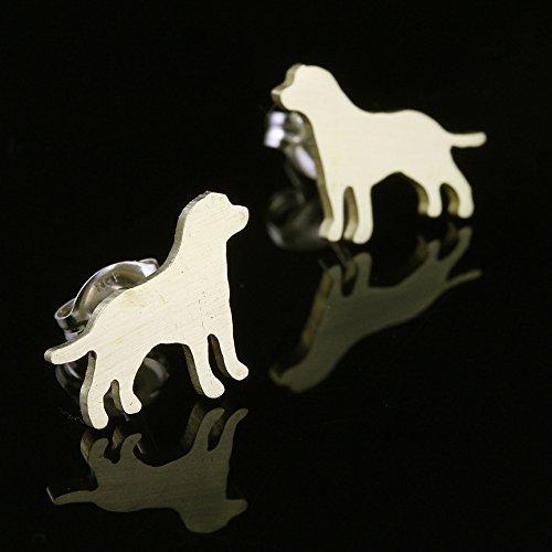 (Yellow Labrador Retriever Brass Silhouette Earrings)