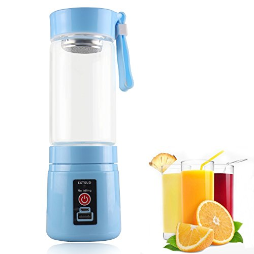 380 Usb (Extsud® 380ML Personal Rechargeable USB Electric Fruit and Vegetable Juice Blender Cup Juicer Extractor with 2000mAh Power Bank, Lightweight Juice Shaker Mixer Bottle for)
