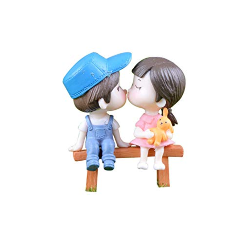 NszzJixo9 Cute Lovers Chair Miniature Landscape 2 Set DIY Ornament Garden Doll Decoration for Home Table Decoration and Wedding Party Gift for Bonsai Home Table Decoration