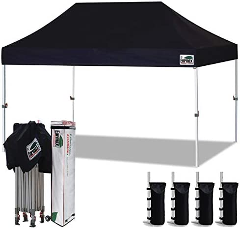 Eurmax 10 x15 Ez Pop Up Canopy Tent Commercial Instant Canopies with Heavy Duty Roller Bag,Bonus 4 Sand Weights Bags Black