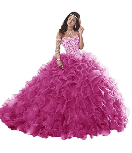 Unions Women's Heavy Beaded Organza Ruffle Quinceanera Dresses for Sweet 16 Prom Ball Gowns Hot Pink