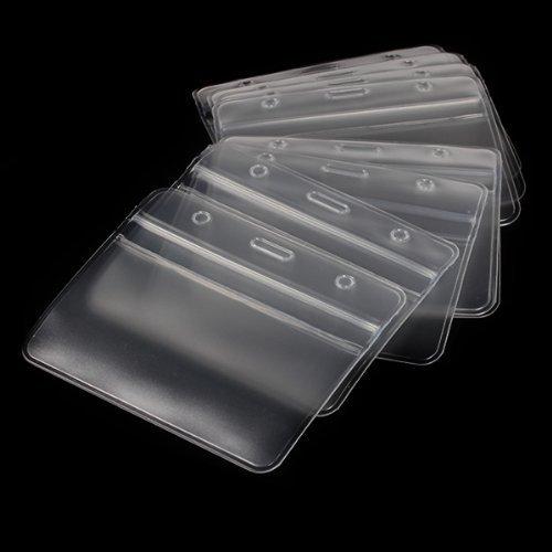 EOM Clear Plastic Card Holder Horizontal Vinyl Business Badge Holder Name Tag ID Card Holder (10pcs pack) Badge Bag
