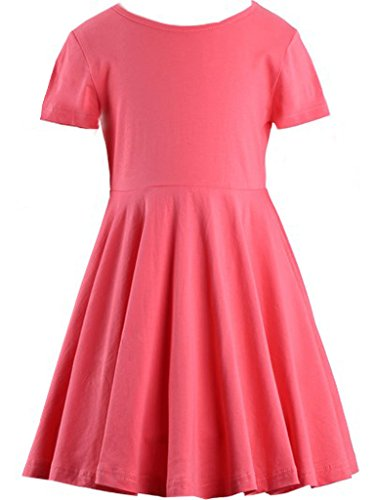Happy Rose Girls' Cotton Short Sleeve Twirly Skater
