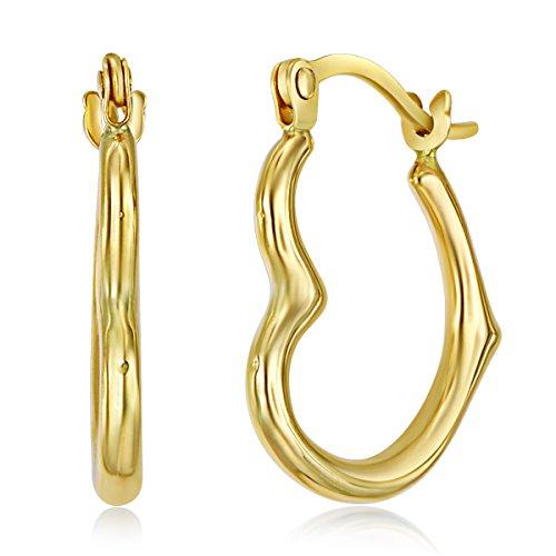 14k Yellow Gold Heart Shaped Hoop Earrings (13 x - Heart Earrings Gold Small