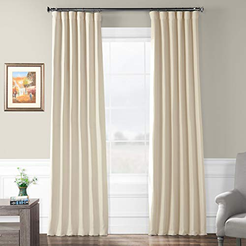 HPD HALF PRICE DRAPES BOCH-PL4201-120 Bellino Blackout Room Darkening Curtain 50 X 120,Cottage White (Window Panels 120)