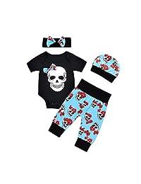 Newborn Baby Boy Clothes 4pcs Set Skull Bowknot Outfits Flower Romper Jumpsuit Pants