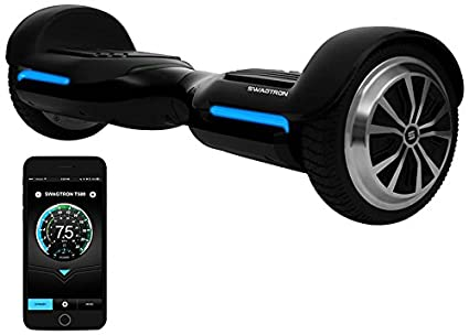 App-Enabled SWAGTRON T580 Bluetooth Hoverboard w/ Speaker Smart Self-Balancing Wheel – Available on iPhone & Android (Black)