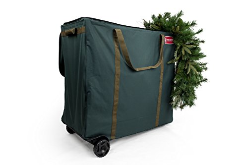 TreeKeeper [Multi Use Christmas Decoration Rolling Storage Bag] - Self Standing Container with ID Tag Holder for Easy Identification - Wheeled Garland Storage and Other Miscellaneous Decor Storage