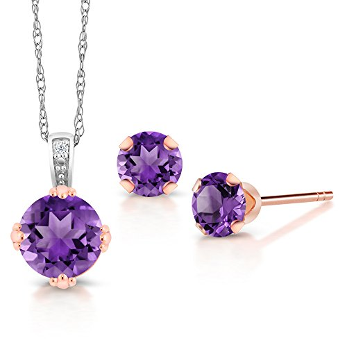 Gem Stone King 10K 2 Tone Gold Purple Amethyst and Diamond Pendant Earrings Set 1.18 Ct with 18 Inch Chain Amethyst Diamond Pendant Earrings