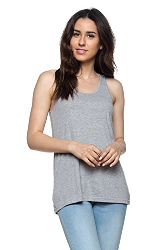 (OSSAMI Tank Tops for Women Loose Fit Relaxed Flowy Workout Yoga Running Shirt Tee_H.Grey_L)
