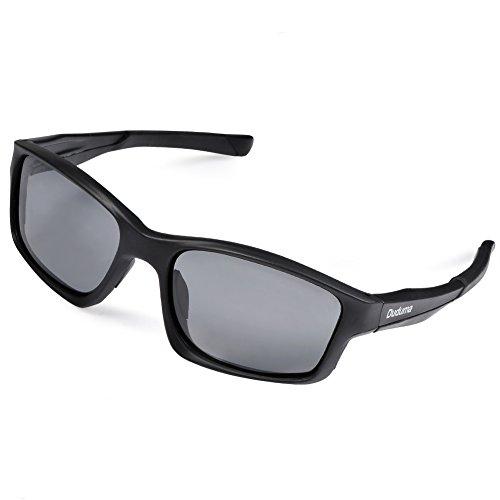 Duduma UV400 Schutz Polarisierte Herren und Damen Sports Sonnenbrille für Radfahren Laufen Baseball Angeln Fahren Ski Golf Tr603 Unbreakable Rechteckrahmen (Schwarz Matt Rahmen mit Schwarz Linse)