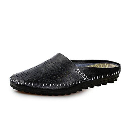 Go Tour Mens Comode Pantofole In Morbida Pelle Scamosciata Slip-on Per Scarpe Nere