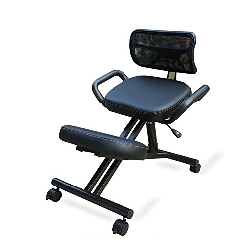 Kneeling Chair Correction sitting position Student Chair Office support waist chair Anti-humpback Computer chair Steel frame structure Adjustable Height With Armrests/ Backrest Fixed wheel PU Black