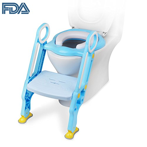 [FDA Certified] Ostrich Toilet Step Trainer Ladder for Kid and Baby, Children's Toilet Seat Chair, Toddlers Toilet Training Step Stool for Girl and Boy (Blue) (Training Ladder Step)
