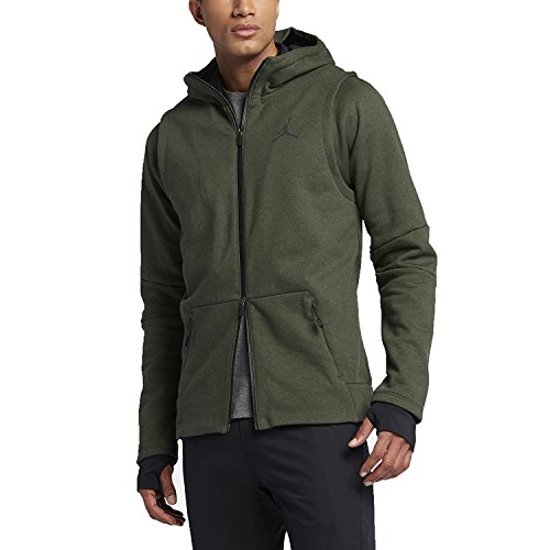 JORDAN SHIELD FZ HOODIE mens novelty-hoodies 809486-383_S - DARK ARMY HTR///BLACK by Jordan