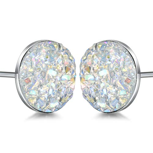 - Sterling Silver Druzy Stud Earrings Hypoallergenic Round Studs for Women Men 8mm -Black, Blue, White, Purple