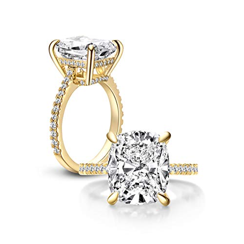 Erllo 6 Carat Clear Cushion Cut CZ Cubic Zirconia Solitaire Wedding Engagement Ring 925 Sterling Silver (Yellow-Gold-Plated-Silver, 5)