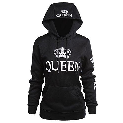 Fenghuo Women's Kangaroo Pocket Queen Hoodie Sweatershirt Black XL
