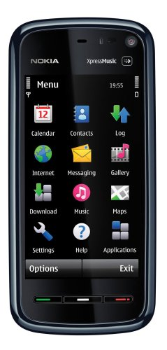 Nokia 5800 XpressMusic Unlocked Cell Phone with International 3G, 3.2 MP Camera, GPS, Wi-Fi, MicroSD Slot--International Version with No Warranty (Blue on Black)