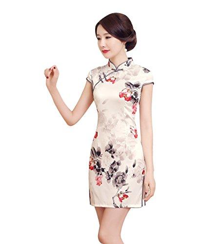 ACVIP Damen Kurzärmelige Etuikleid Cheongsam Qipao Chinesische Knöpfe Dress  Blume Drucken Elfenbeinfarbig